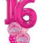 Фольгированный шар-фигура с гелием розовая на день рождения 16 лет